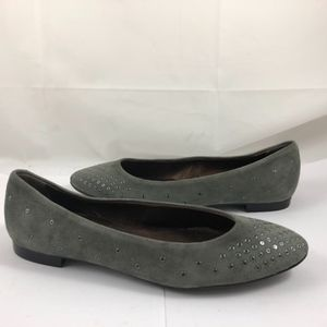 Shoes - AGL Grommet Suede Leather Slip On Flats Shoe